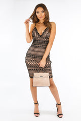 Black Contrast Crochet Cami Dress