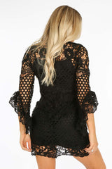 Frill Sleeve Crochet Dress With Slip Underlay In Black
