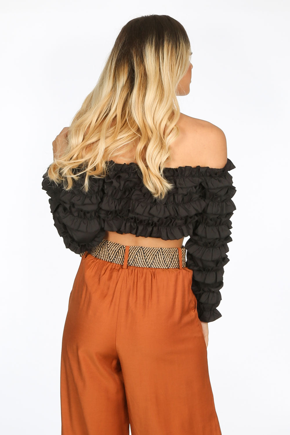 Black Ruffle Long Sleeve Crop Top