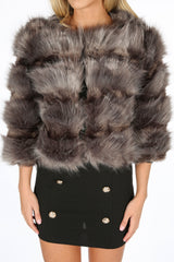 Cropped Super Soft Faux Fur Jacket In Grey
