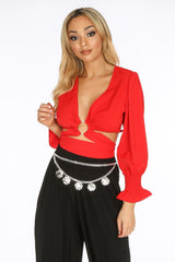 Red Wrap Around Long Sleeve Crop Top