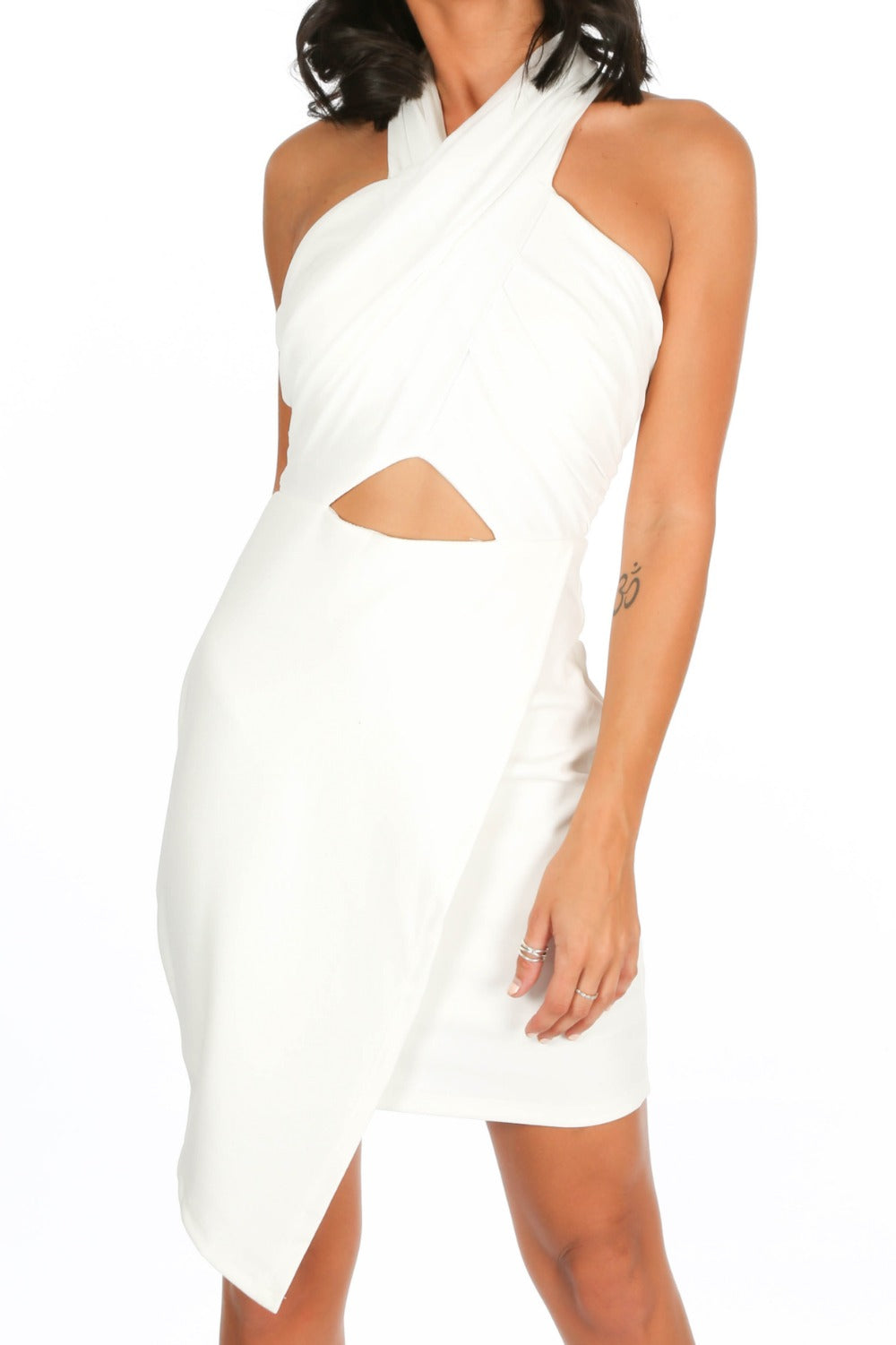 Cross Front Grecian Cut Out Midi Dress In White