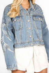 Embellished Stud And Pearl Denim Jacket