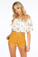 Mustard Denim Mini Shorts