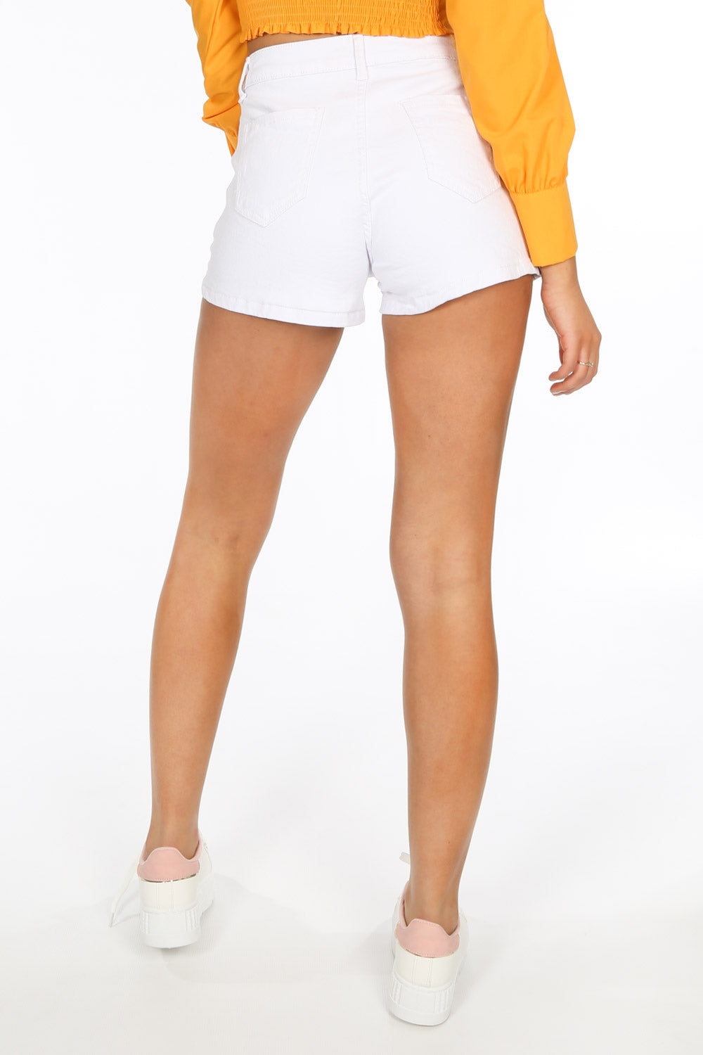 White Denim Mini Shorts