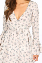 Pink Floral Print Wrap Look Mini Dress