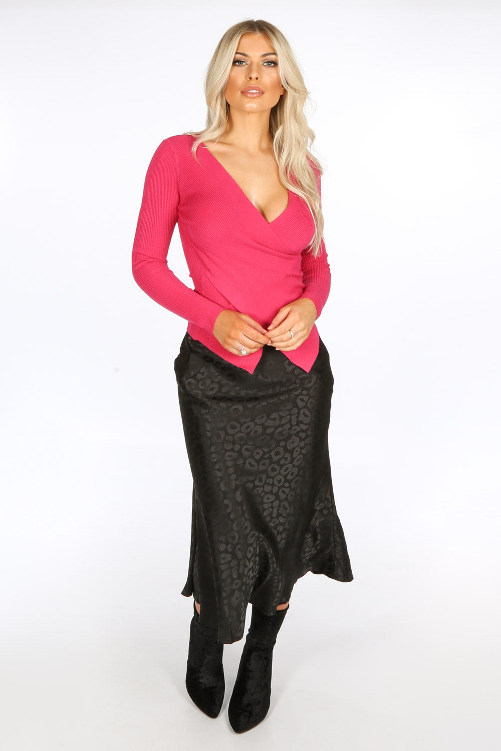 Black Embossed Satin Bias Midi Skirt