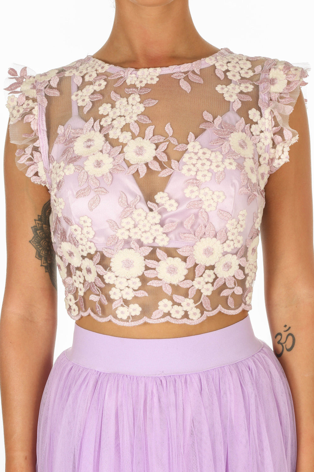 Embroidered Crop Top With Bralet Underlay In Lilac