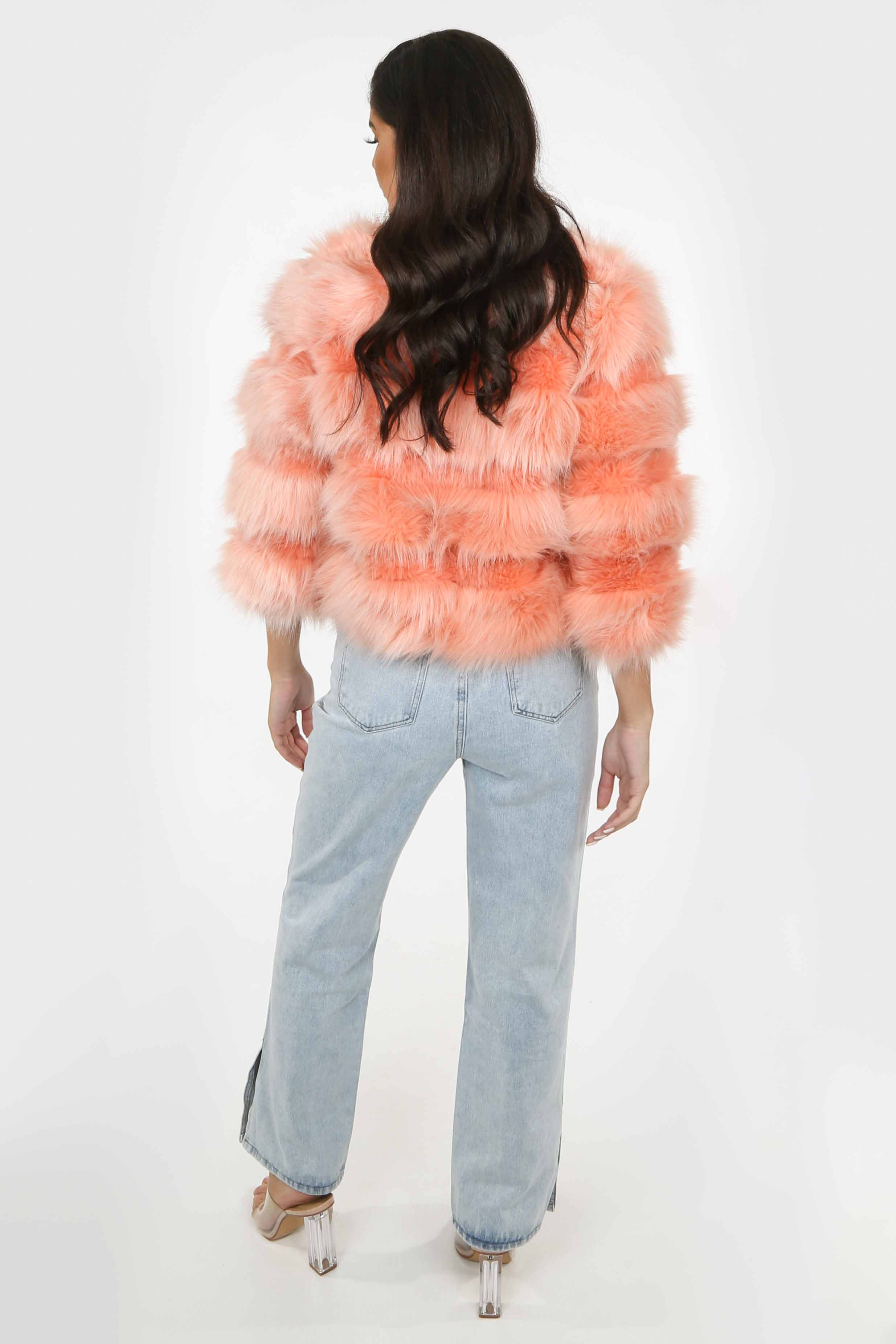 Cropped Super Soft Faux Fur Jacket In Coral