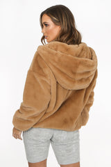 Luxe Faux Fur Zip Up Hoodie In Beige