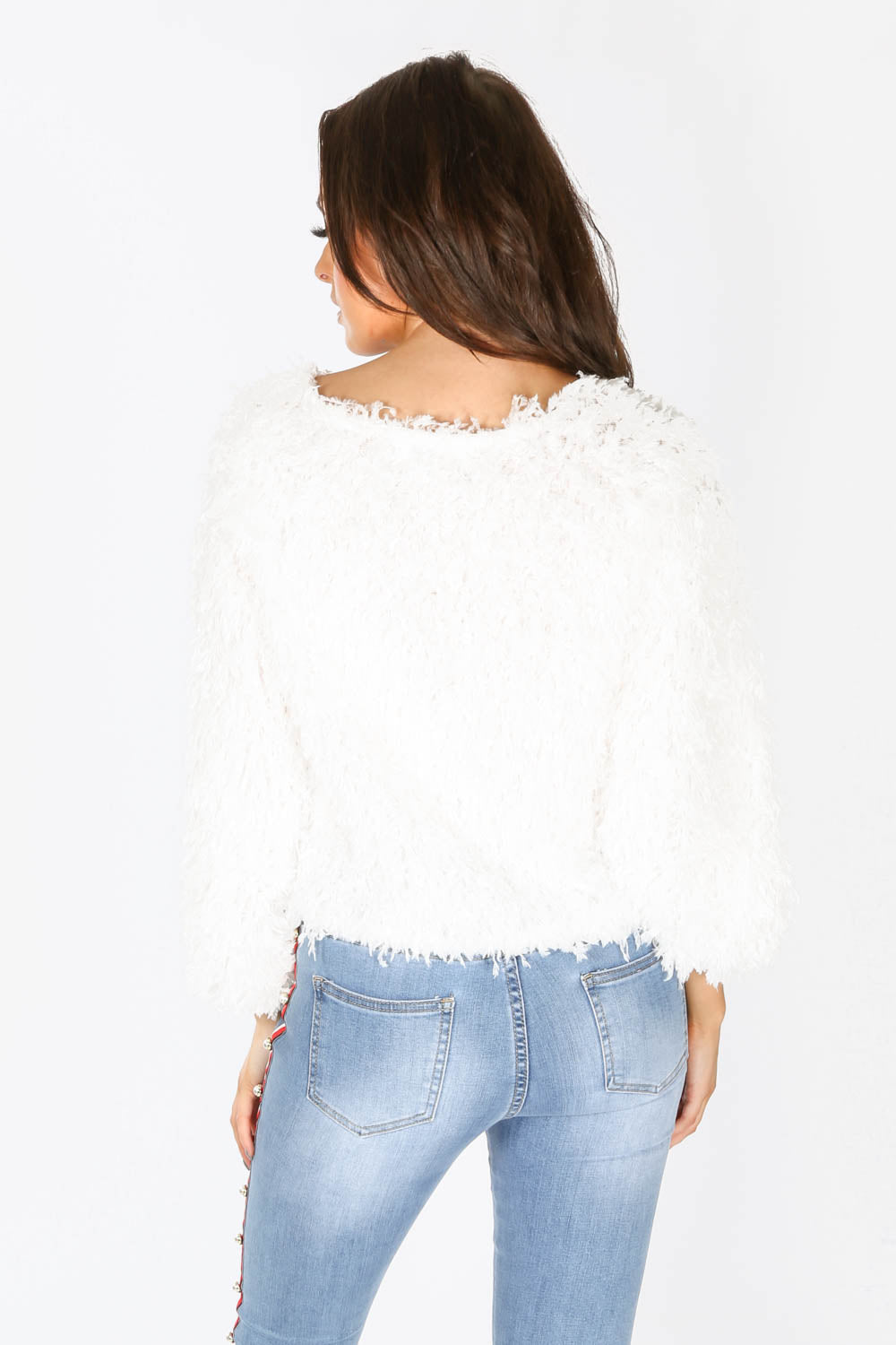 Feather Look Round Neck Top In White