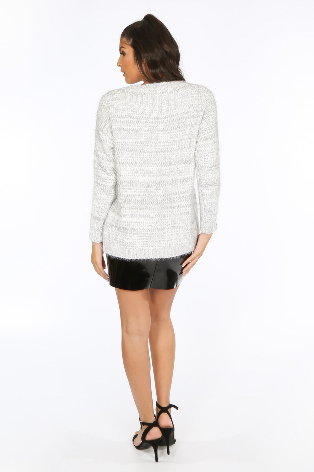 Grey Fluffy Round Neck Fleck Knit Jumper