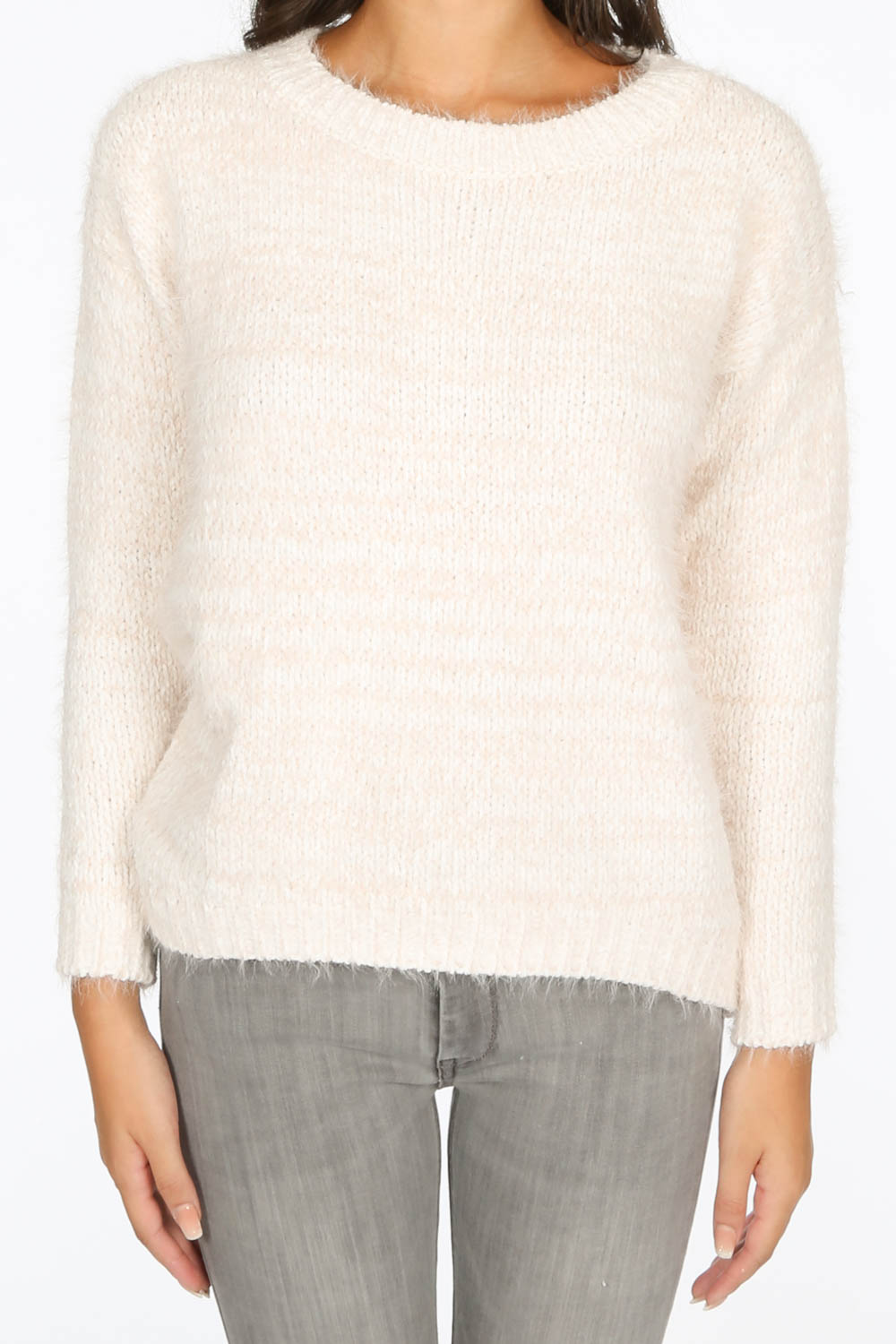 Pink Fluffy Round Neck Fleck Knit Jumper