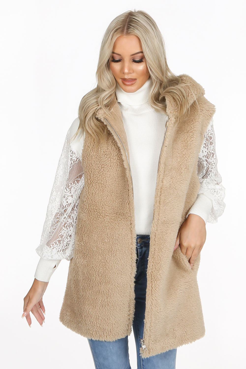 Beige Borg Reversible Faux Shearling Gilet