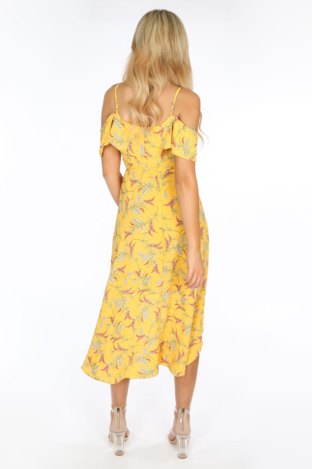 Cold Shoulder Midi Wrap Dress in Yellow Floral Print