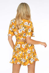 Yellow Flowy Floral Tie Front Crop Top