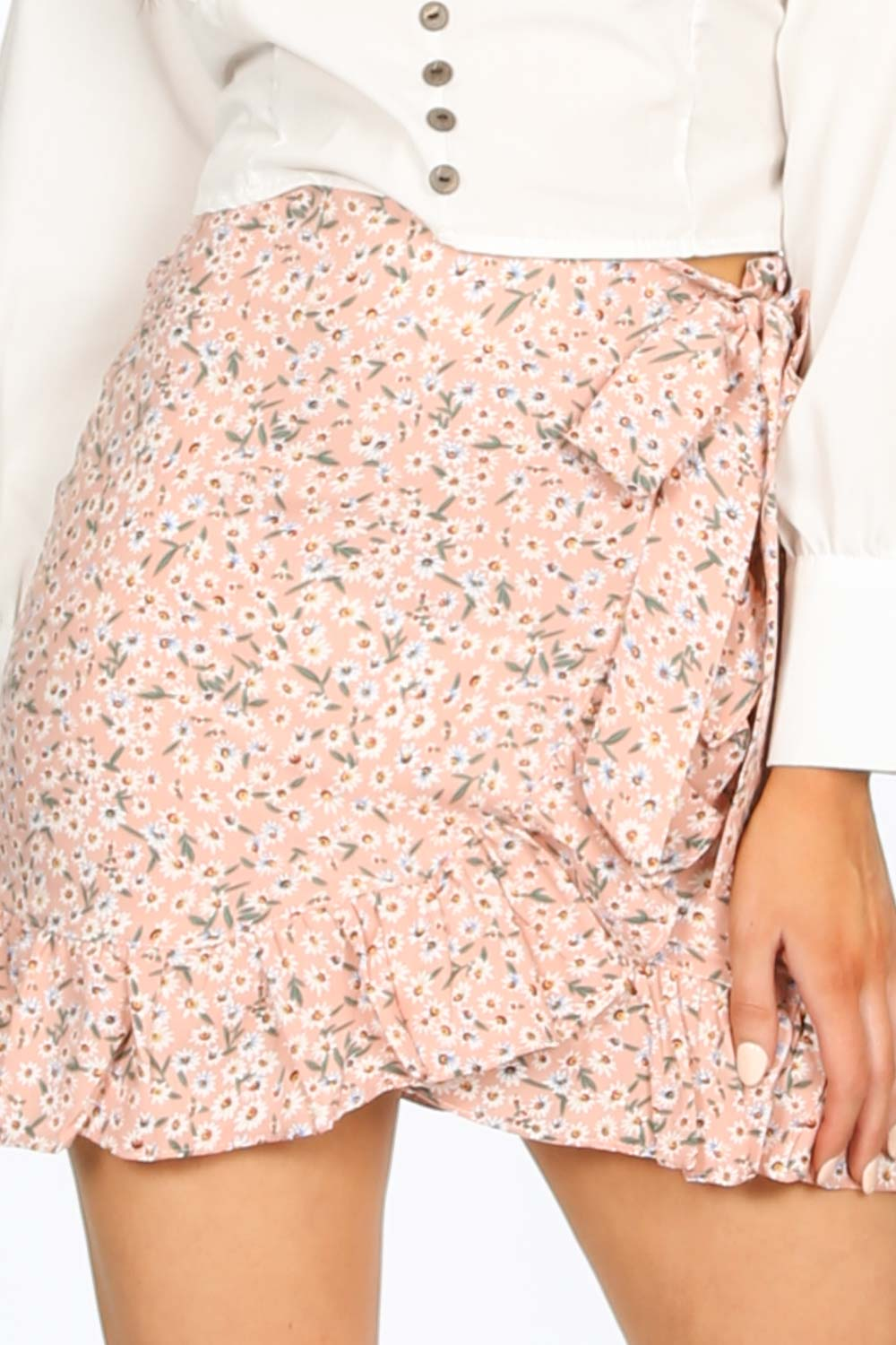 Pink Floral Frill Mini Skirt