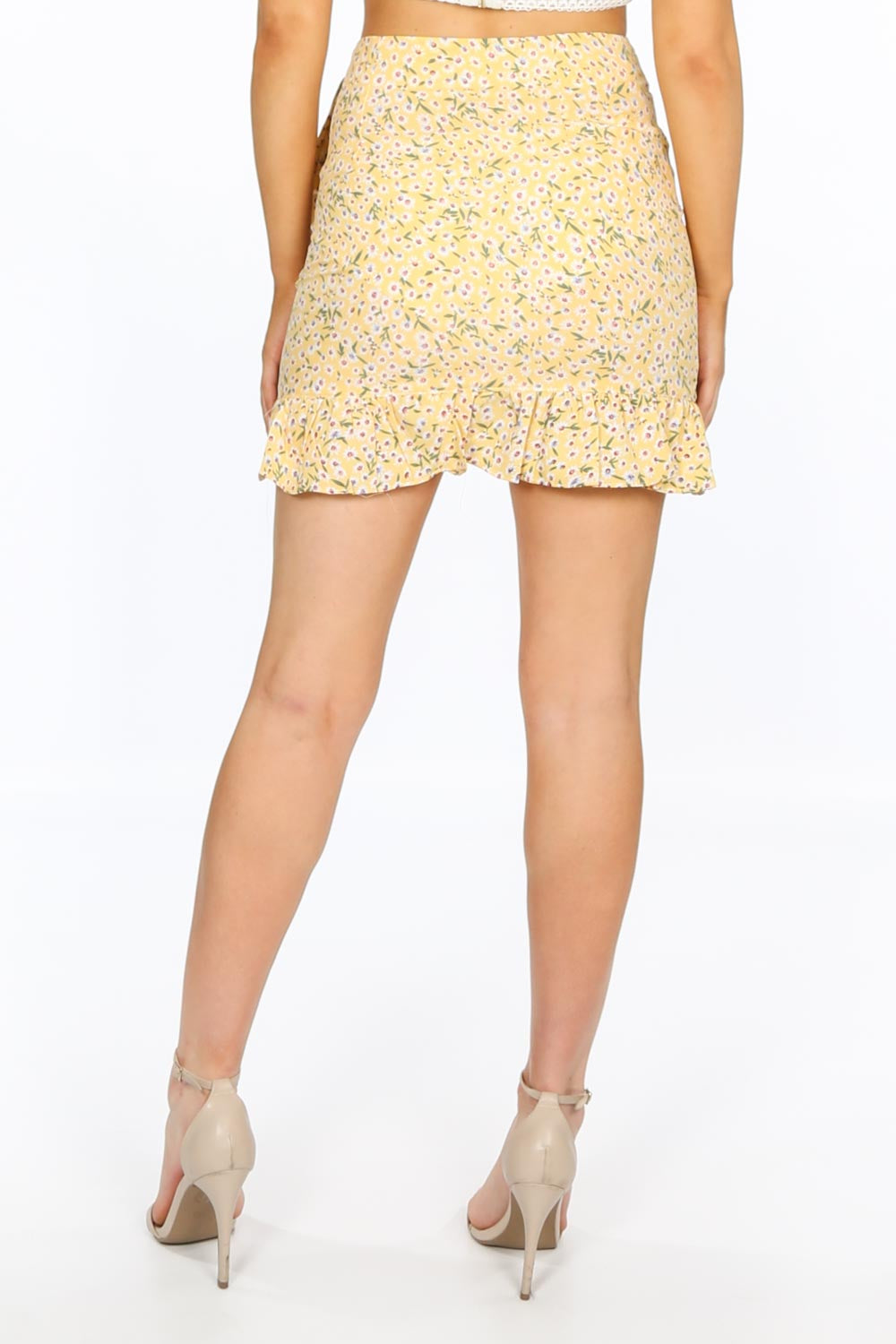 Yellow Floral Frill Mini Skirt