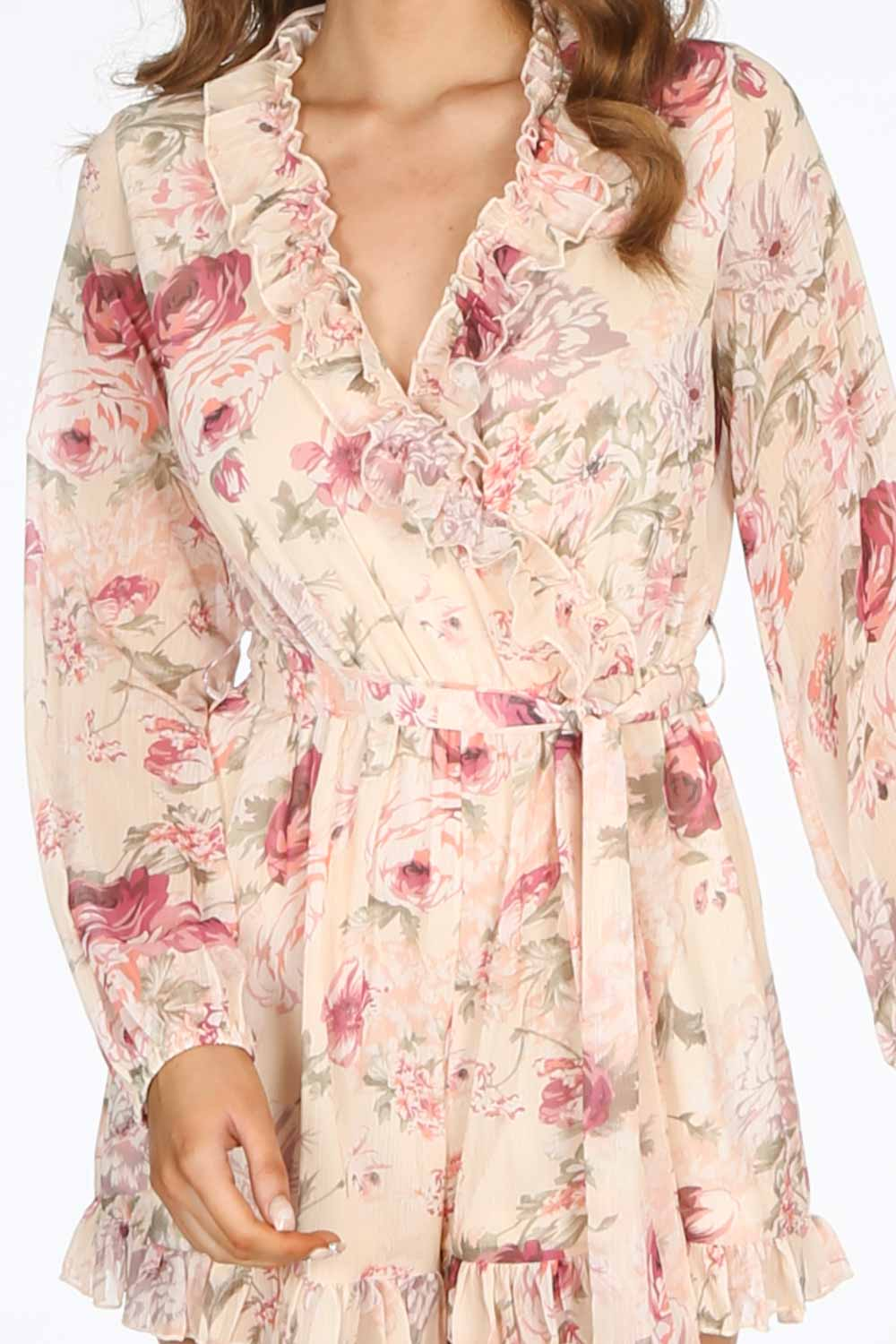 Long Sleeve Chiffon Floral Playsuit In Cream