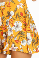Yellow Flowy Floral Printed Shorts