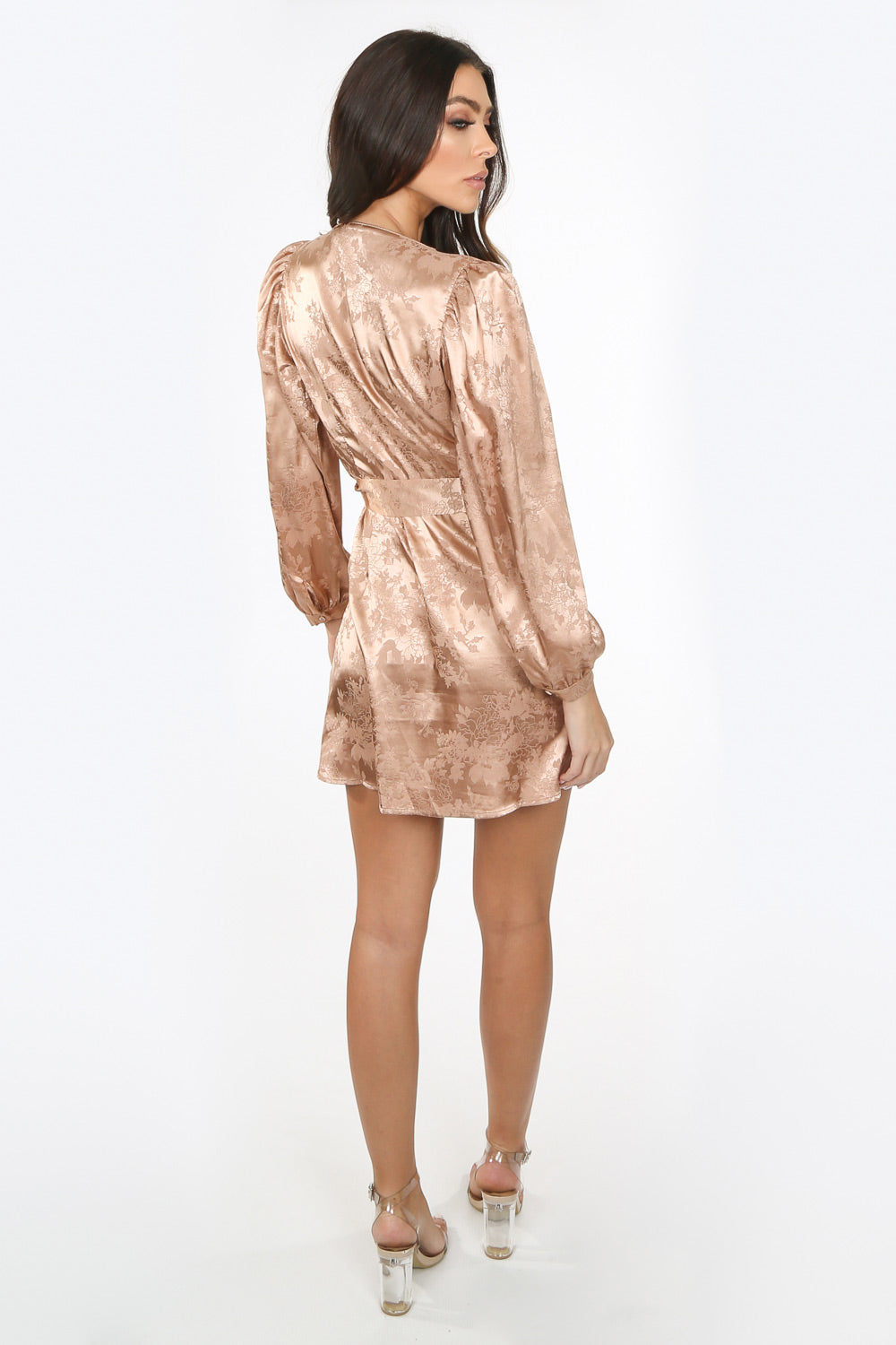 Taupe Plunge Satin Wrap Dress