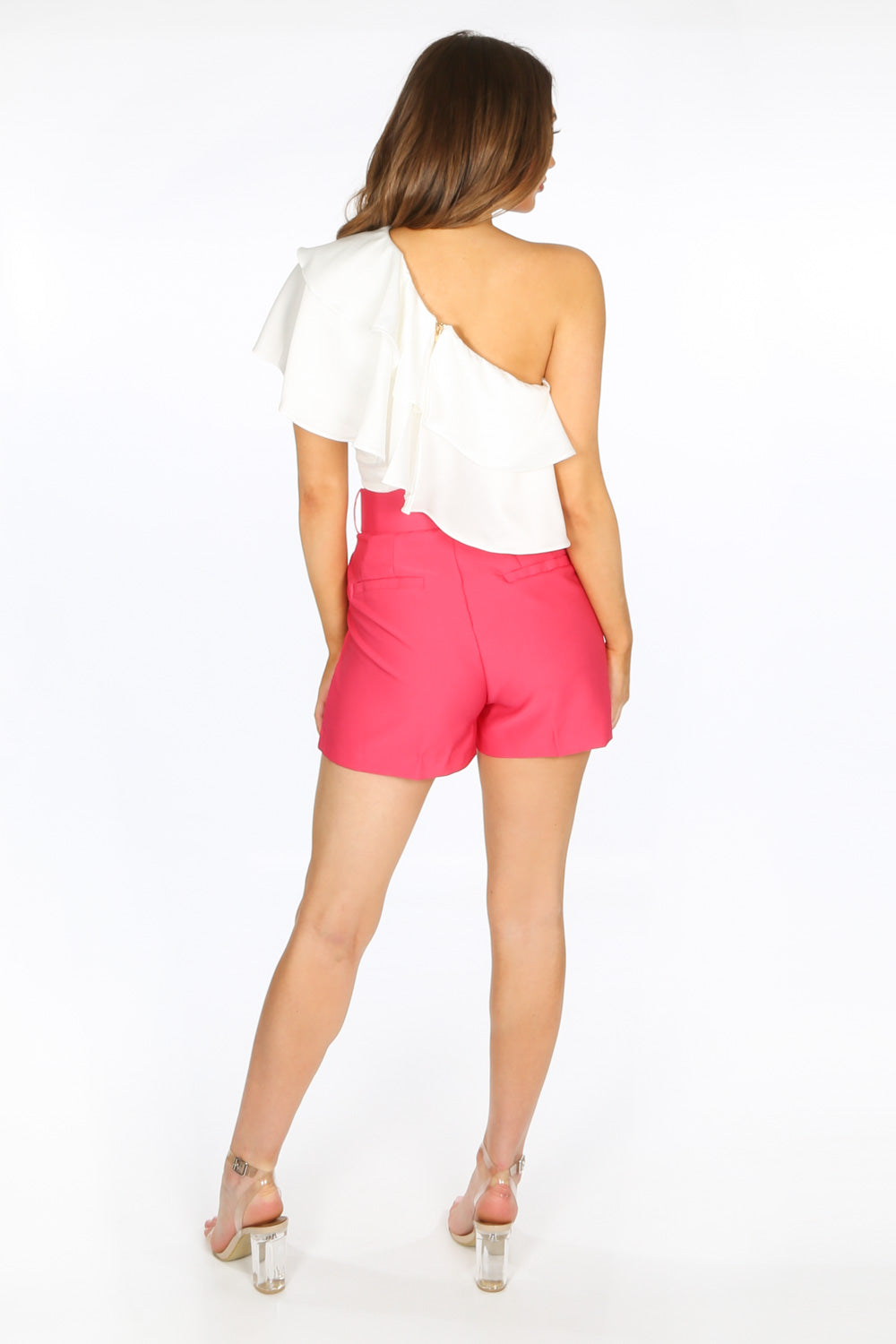 Tailored Belted Shorts In Fuchsia