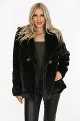 Black Double Button Faux Fur Jacket
