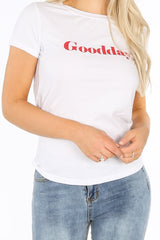 White Good Day Slogan T-shirt