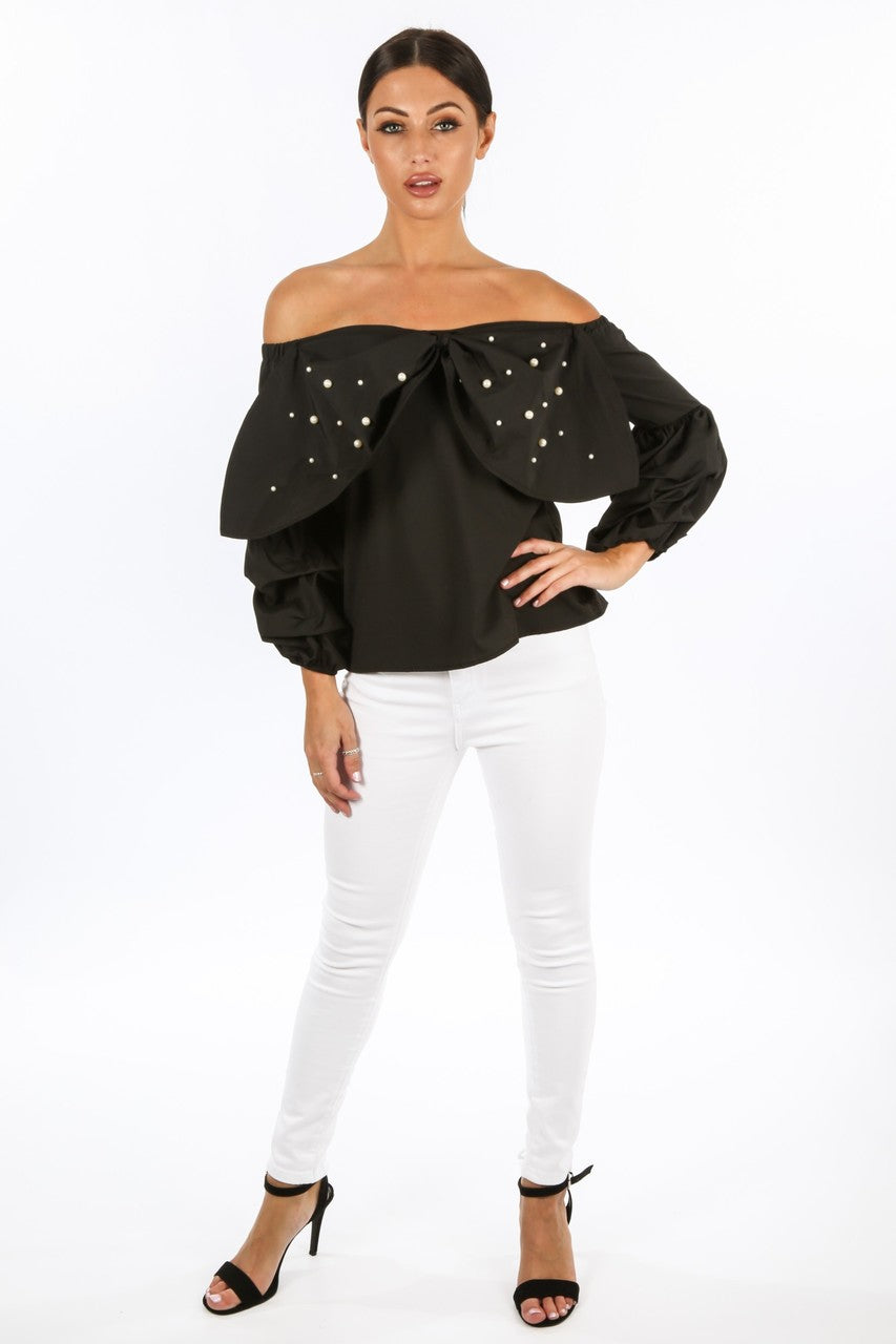 v/832/H660-_Black_Off_The_Shoulder_Pearl_Embellished_Bow_Front_Top__09324.jpg