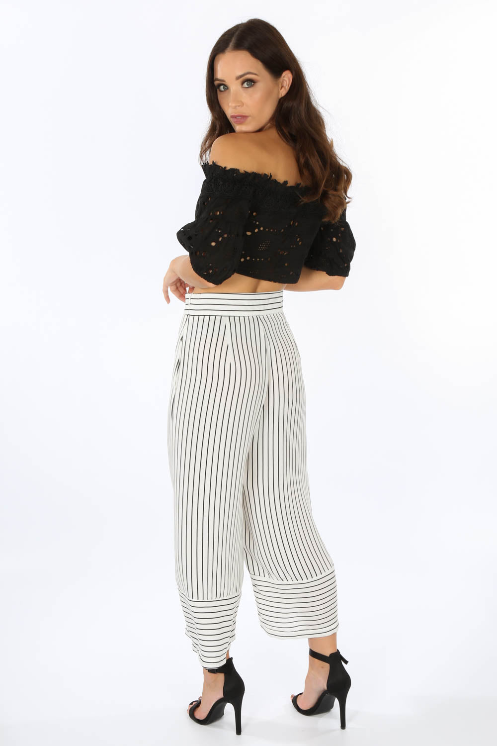 Black Off The Shoulder Lace Up Crop Top