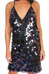 Iridescent Sequin Strappy Mini Dress
