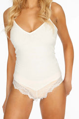 White Ribbed Jersey Bodysuit With Lace Trim