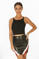 Jersey Ribbed Crop Top In Black
