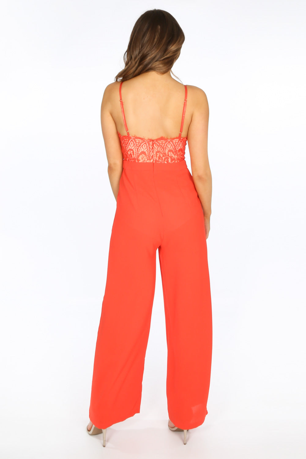 Red Contrast Lace Jumpsuit