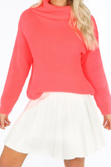 White Knitted Pleated Skater Skirt