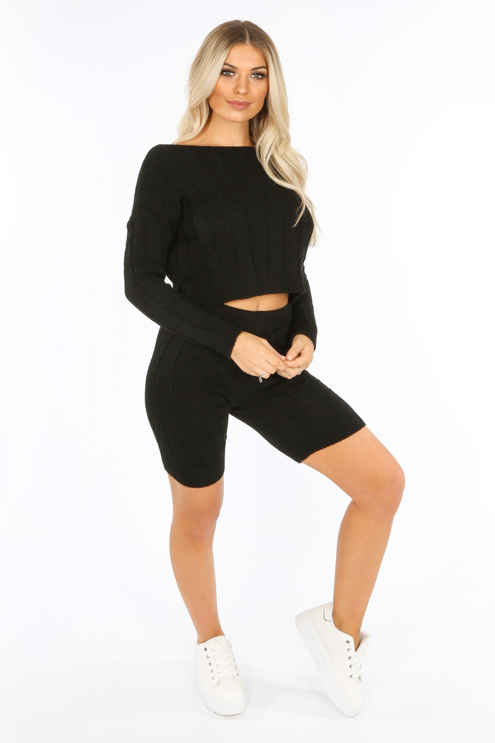 Black Knitted Jumper And Shorts
