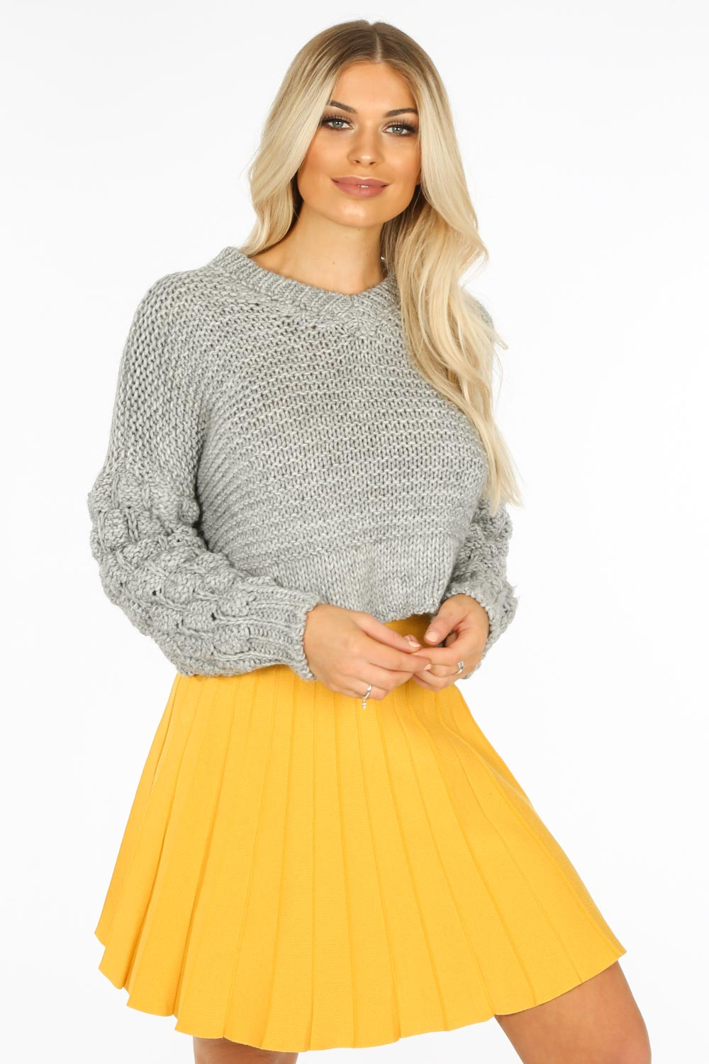Yellow Knitted Pleated Skater Skirt