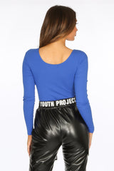Cobalt Blue Long Sleeve Jersey Plunge Bodysuit