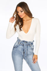 White Long Sleeve Jersey Plunge Bodysuit