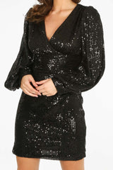 Black Puff Sleeve V-Neck Sequin Mini Dress