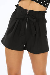 Black Zip Front Paper Bag Shorts