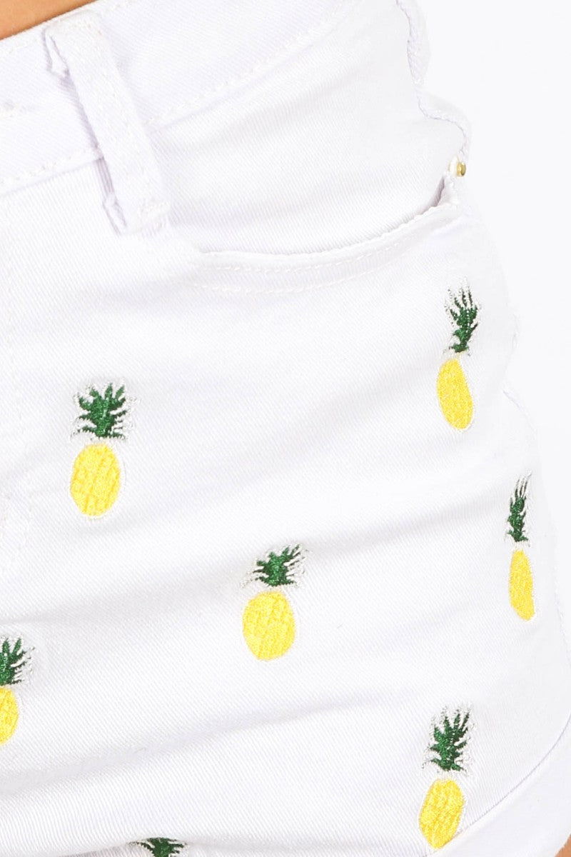Pineapple Embroidered White Denim Shorts NEW