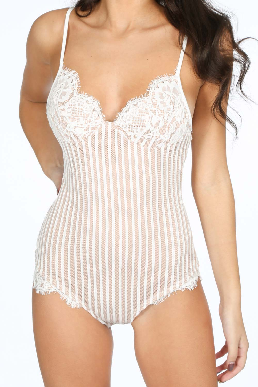 Boudoir Lace Bodysuit In White