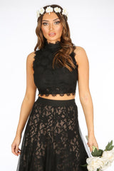 Black High Neck Sleeveless Lace Crop Top