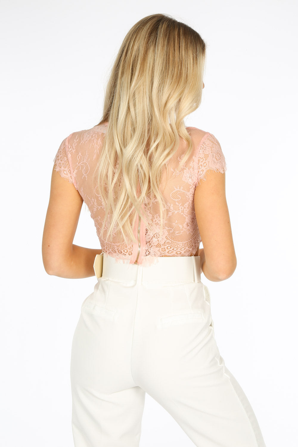 Sheer Lace Crop Top With Bralet In Pink