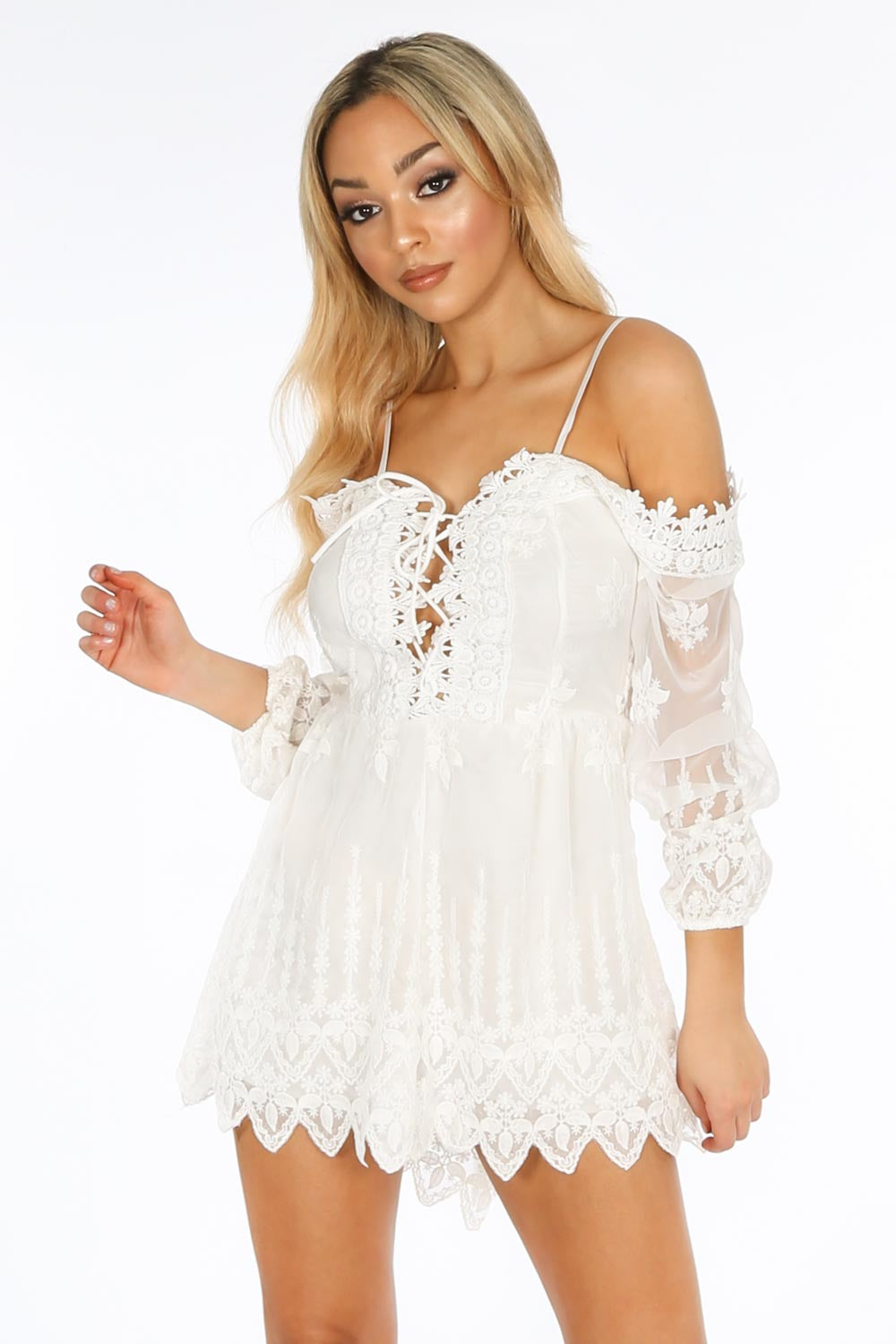 White Lace Up Front Cold Shoulder Playsuit