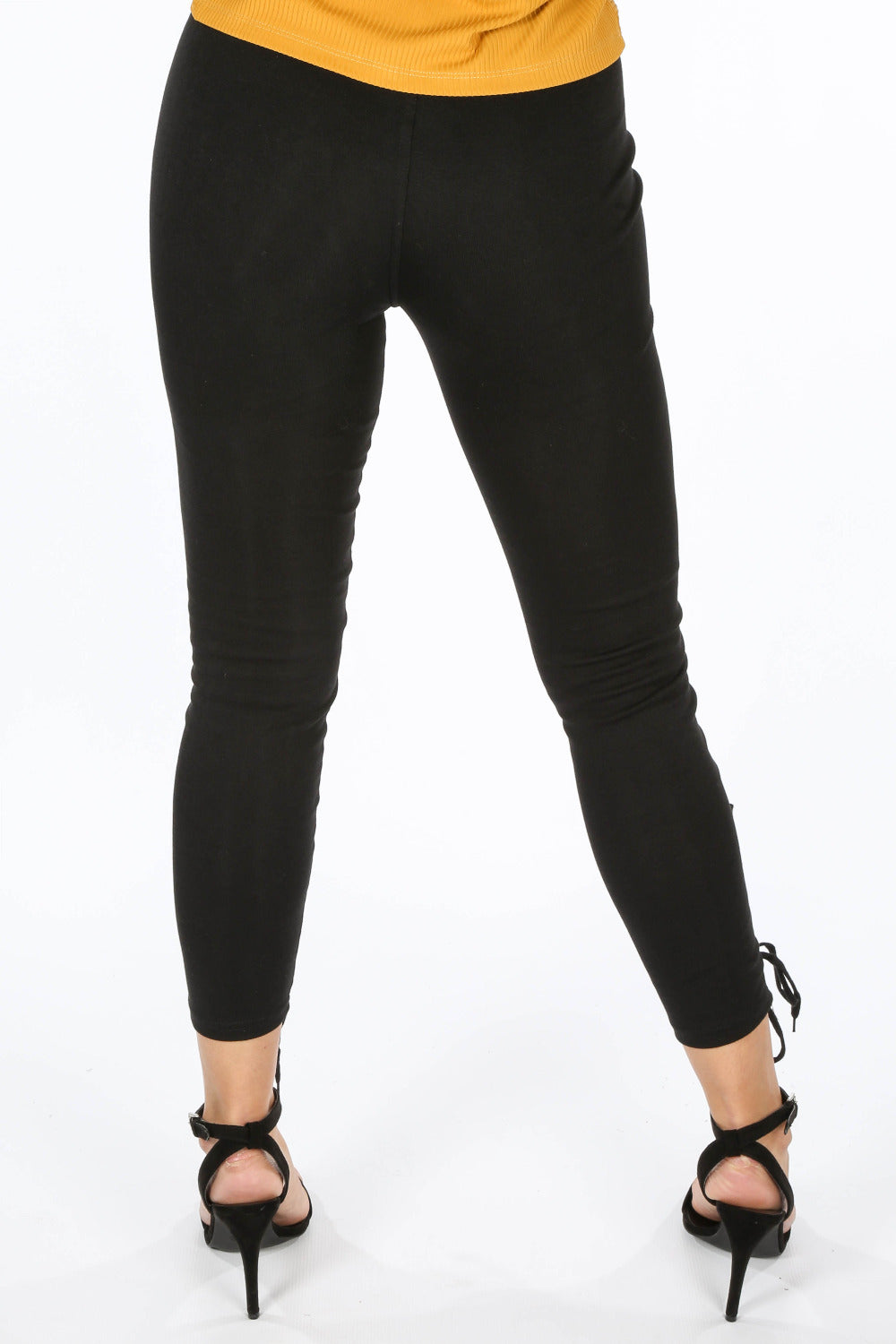 Black Lace Up Jersey Leggings