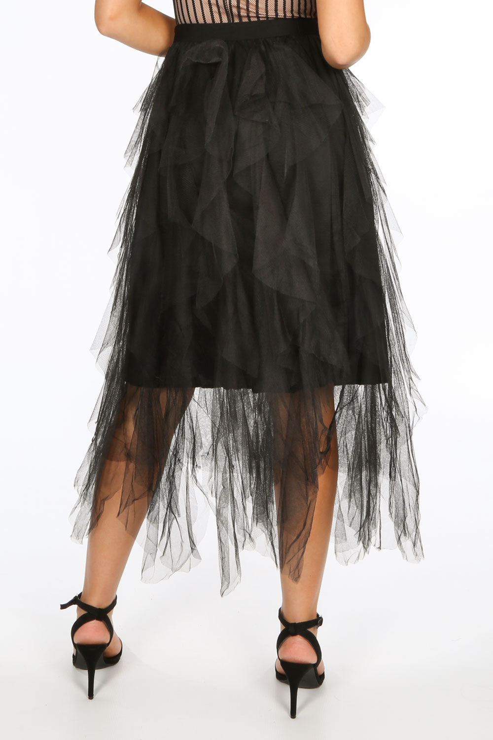 Black Ruffle Draped Midi Tulle Skirt