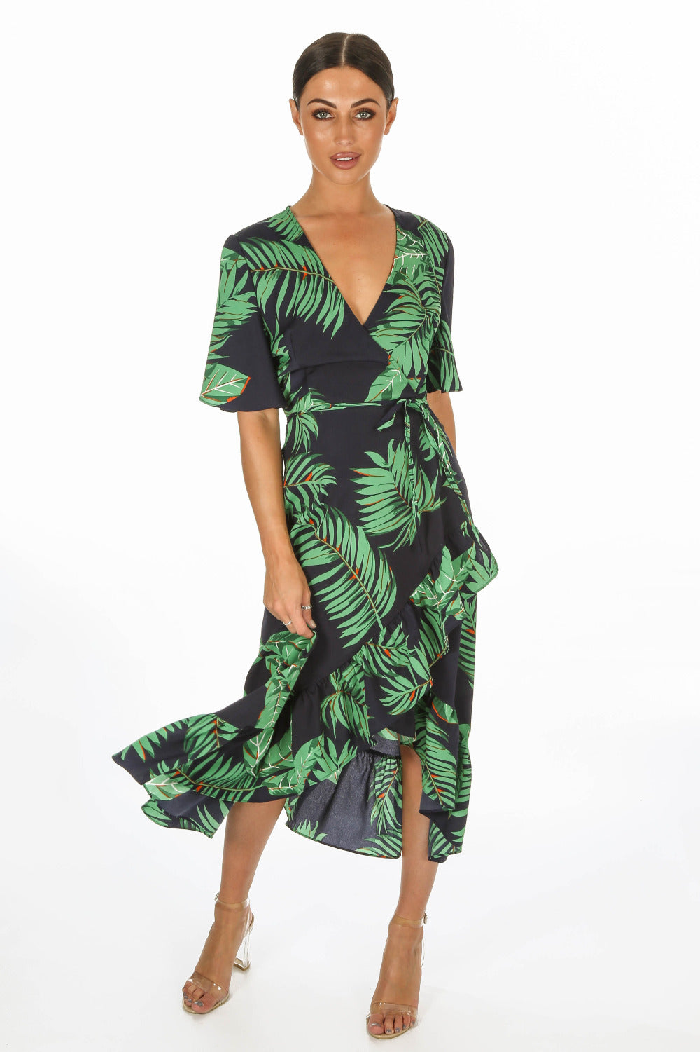 Leaf Print Wrap Front Dress In Blue