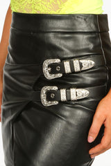 PU Buckle Front Mini Skirt